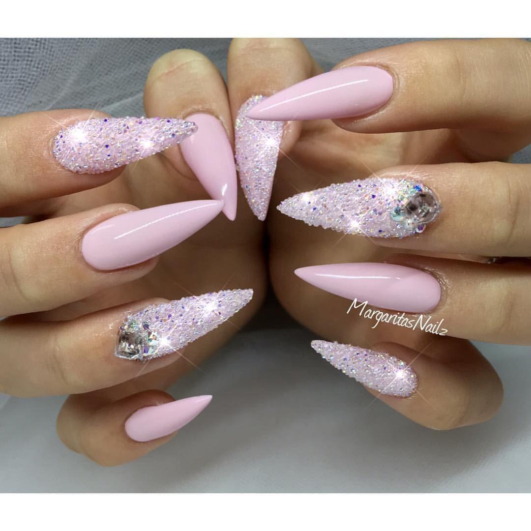 Baby pink stiletto nails Swarovski crystal pixie summer ...