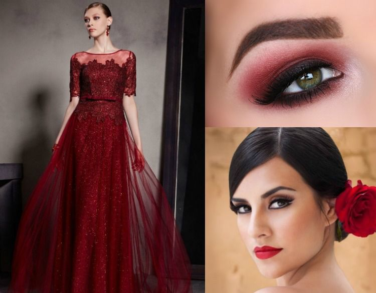 Rotes kleid make up