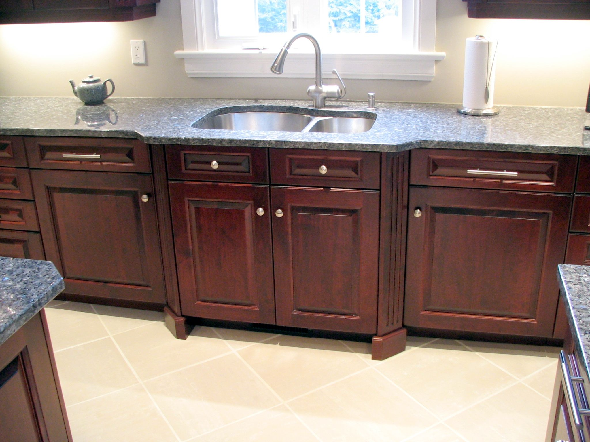 angled fluted columns bump out the sink area in this rosewood cherry kitchen can you - Rosewood Kitchen Cabinets