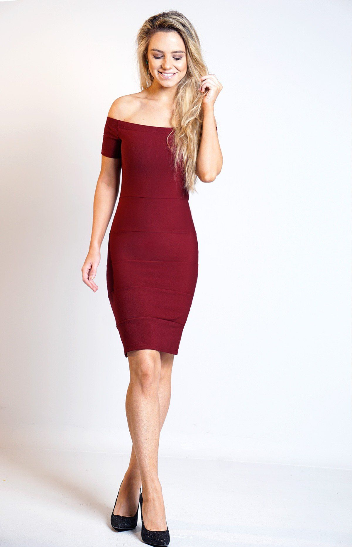 6c991f01104 Wine Bardot Bandage Dress