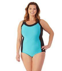 399016e27f Plus Size Color Block Tall Tank Swimsuit by JunoActive