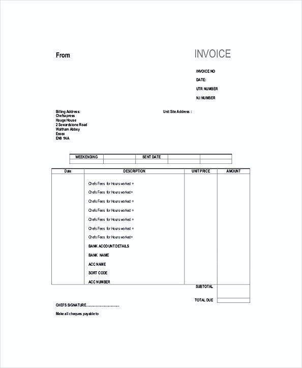 Self Employed Chef Invoice templates , Work Invoice Template