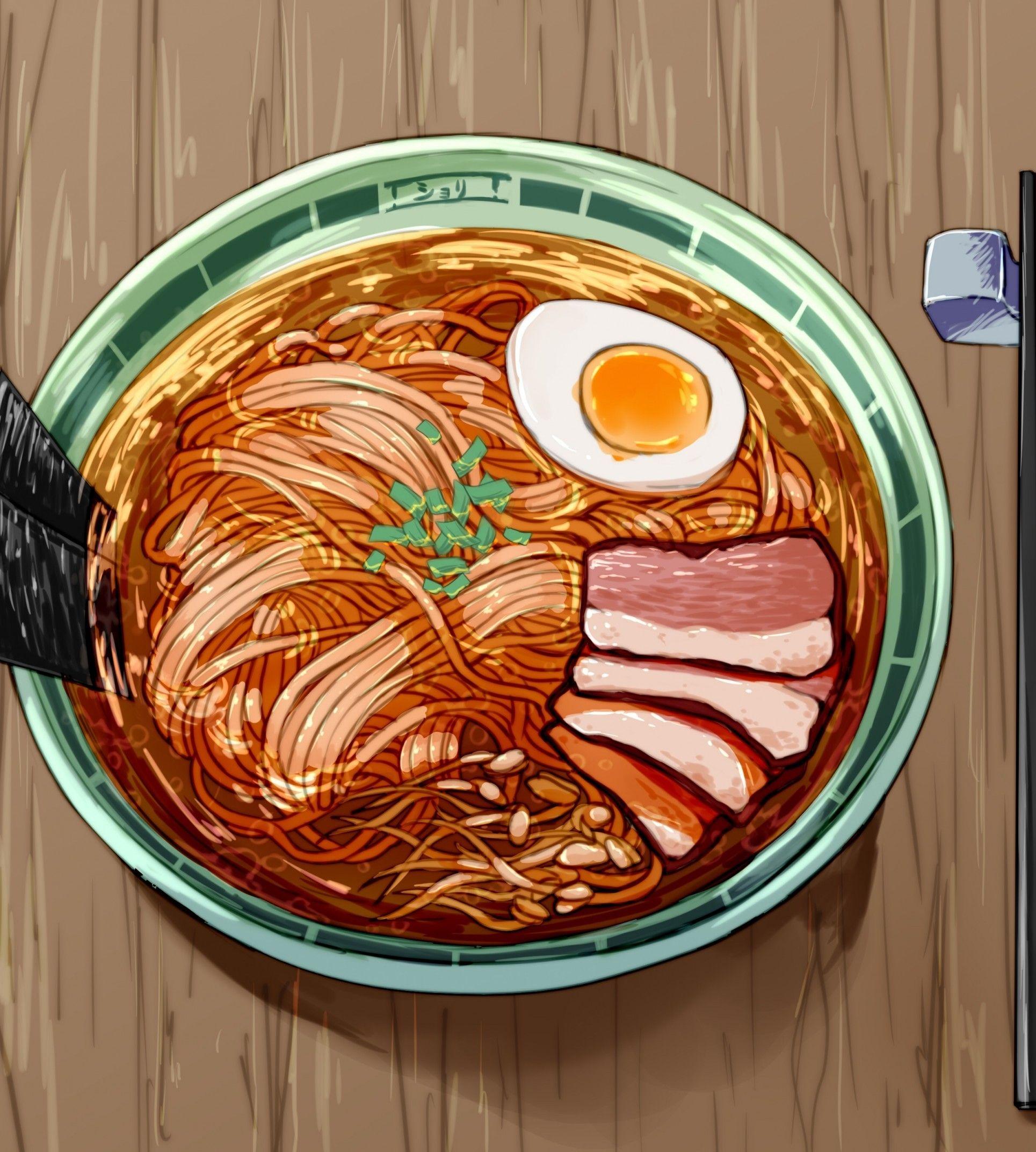 Download 1929x2144 Anime Ramen Delicious Chopsticks Egg Meat Wallpapers Wallpapermaiden Delicious Chopsticks Food