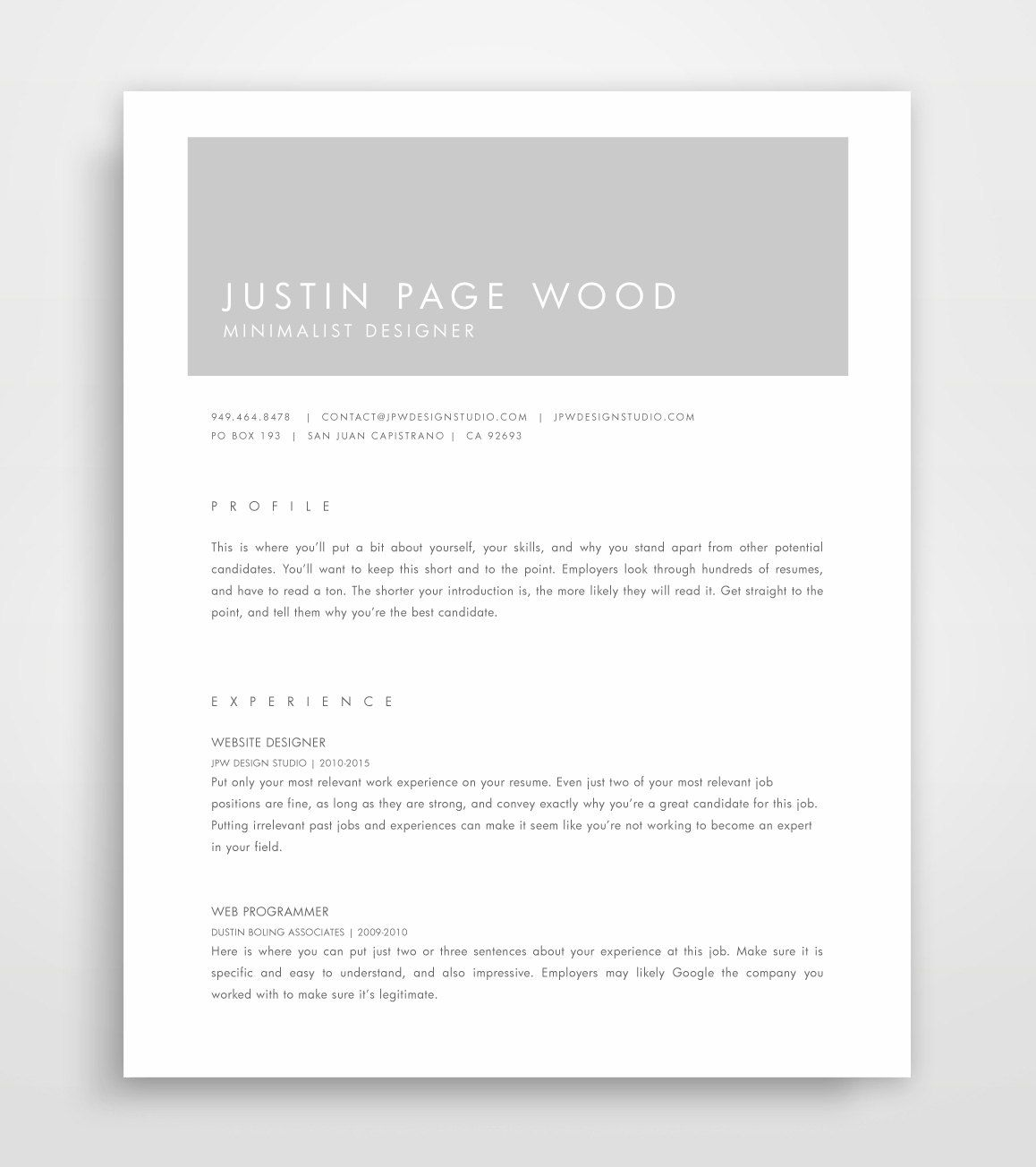 Grey & White Modern Resume Template - Printable Modernist Resume ...