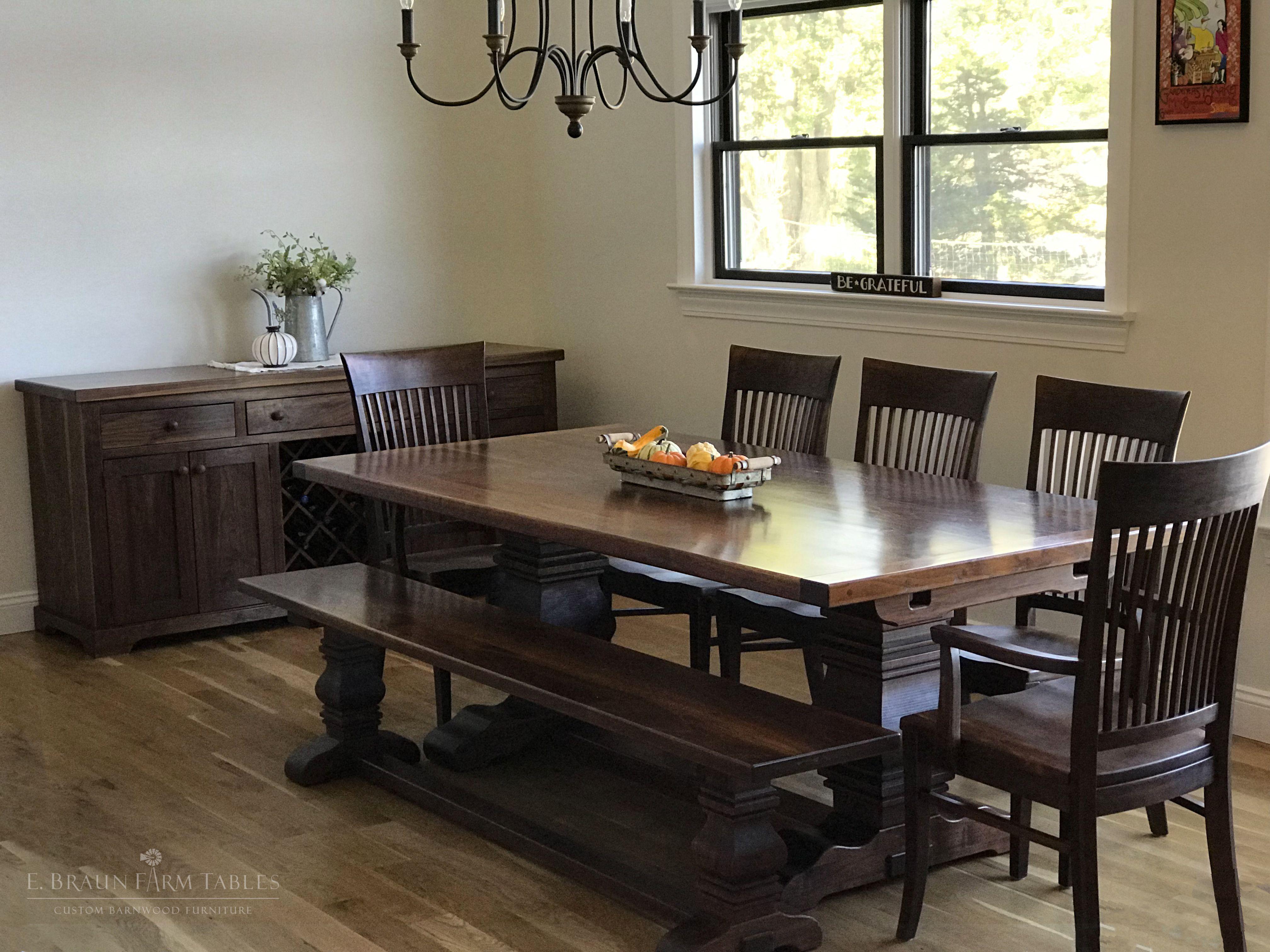 Black Walnut Pear Pedestal Table Matching Bench Sideboard