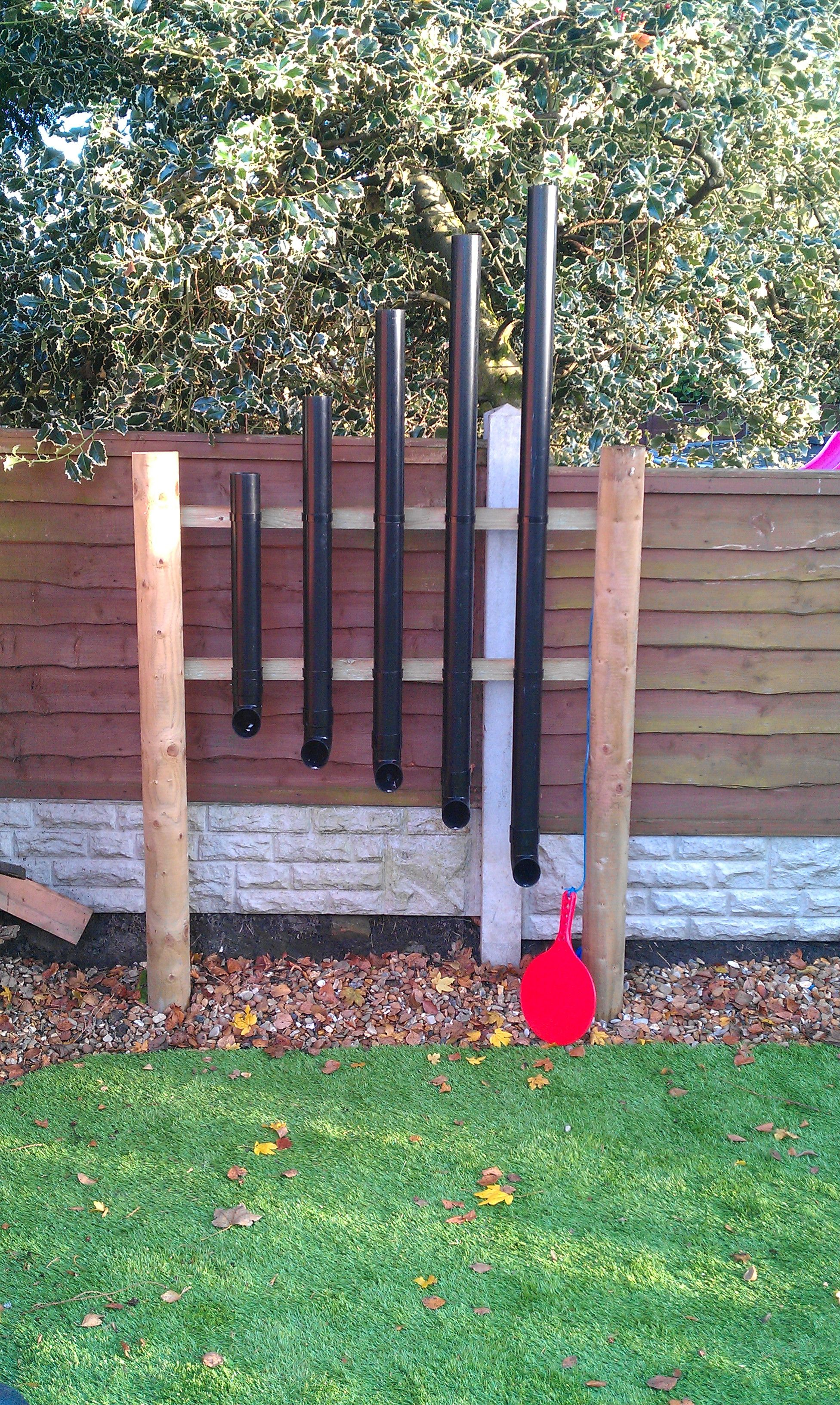 Drain Pipes Used As Musical Instruments A Paddle Bat Is Attached To The Poles At Side Which My Kids Use Pat