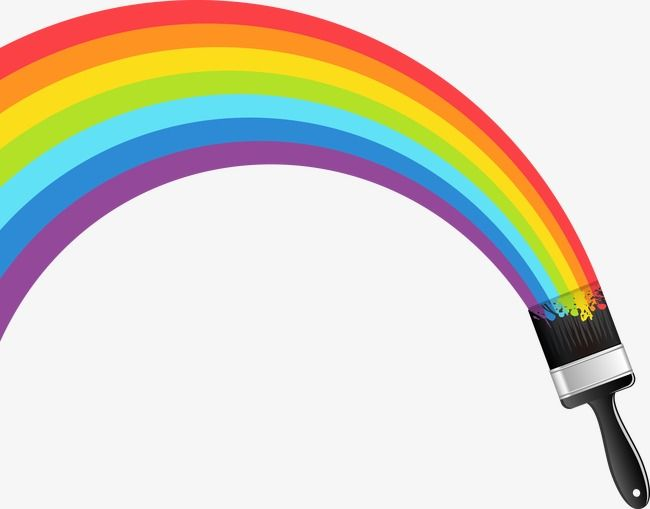 Colorful Rainbow Paint Brush Png And Vector Rainbow Painting Rainbow Drawing Paint Brushes