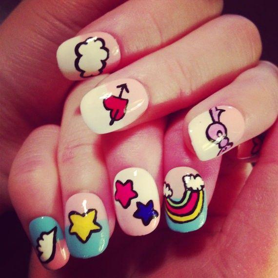 Unicorn Nails fake nails japanese nail art kawaii | Sexy lady Makeup ...