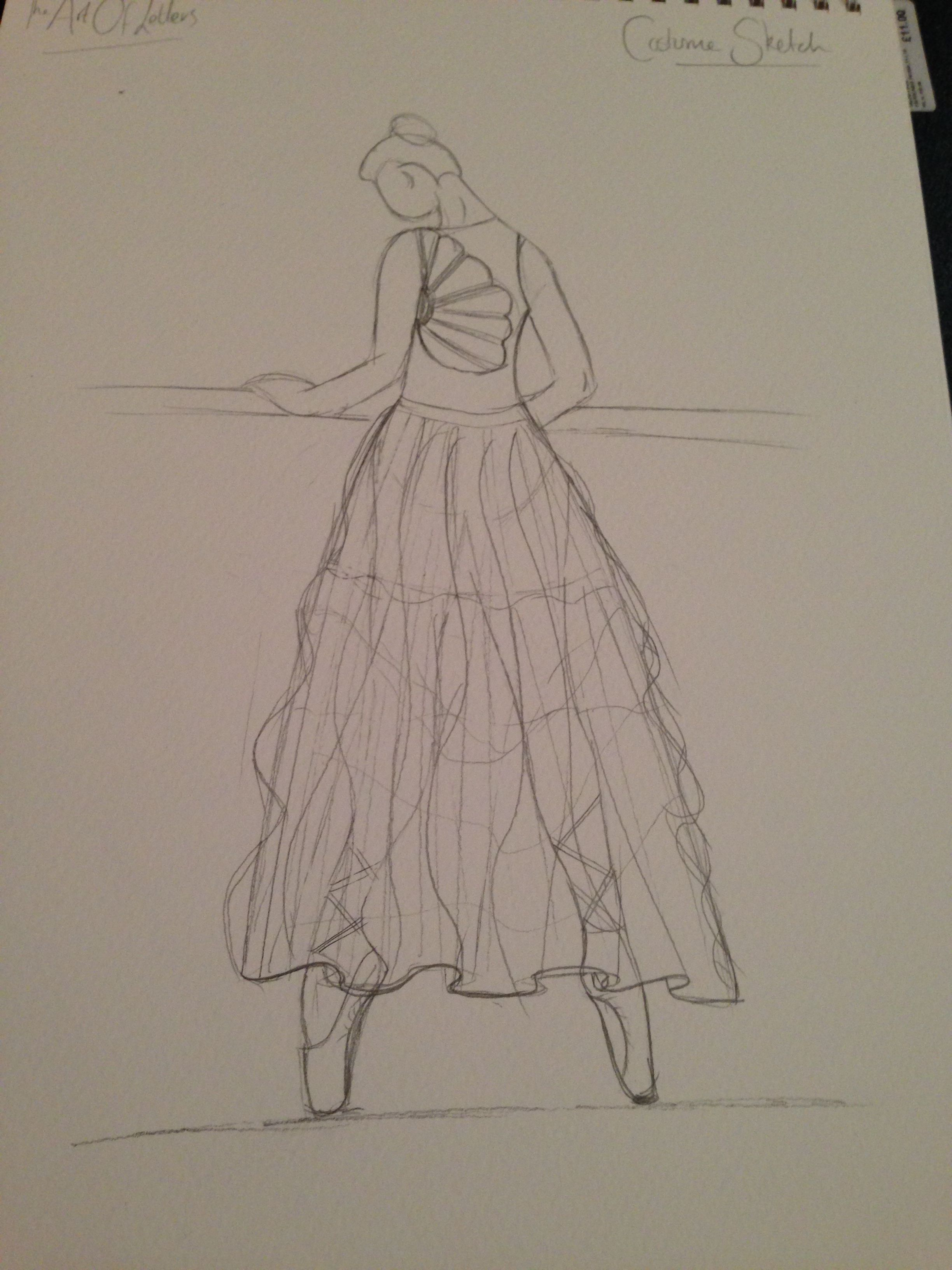 Costume Design idea. Leotard top and Ruffled tulle asymmetrical skirt