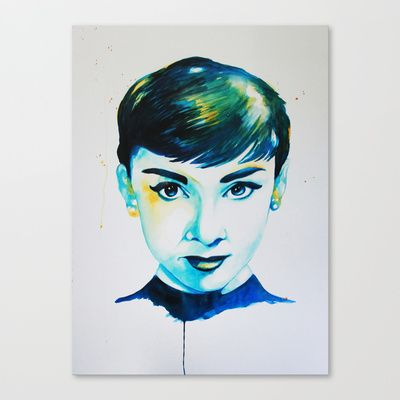 Audrey Hepburn Stretched Canvas by Talula Christian
