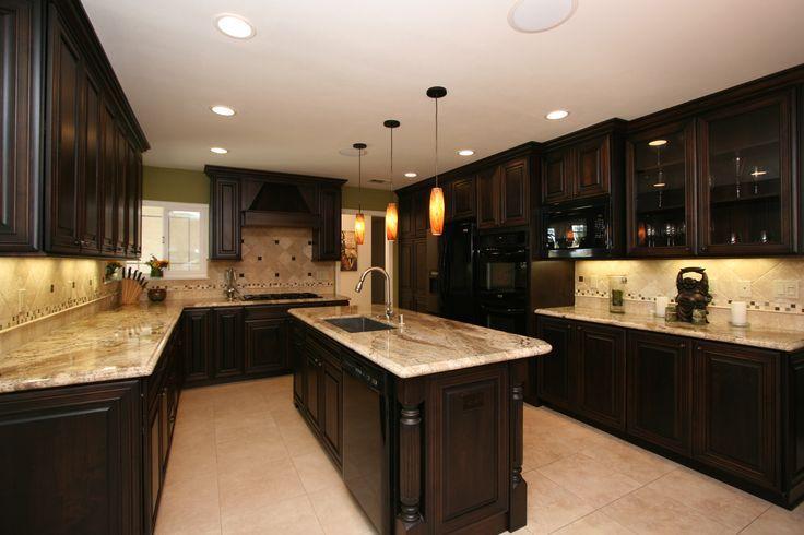 Dark Kitchen Cabinets With Light Granite and Light Backsplash   Home ...