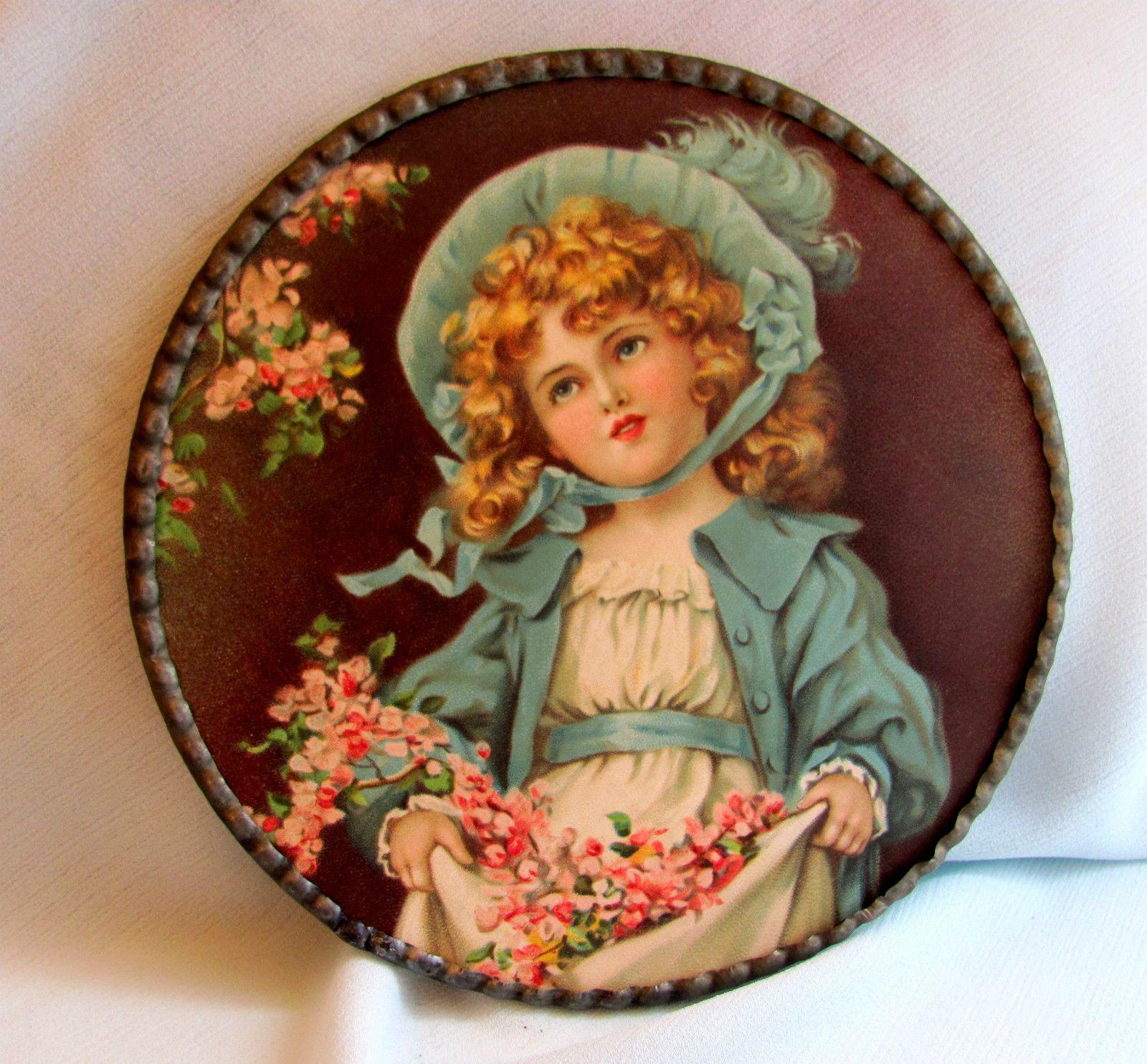 PR Antique Flue Cover Victorian Girls Bonnet Flowers ...