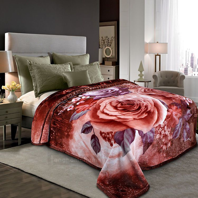 4kg rachel blanket 3d effect rose 2m23m king size double layer blanket floral - King Size Blanket