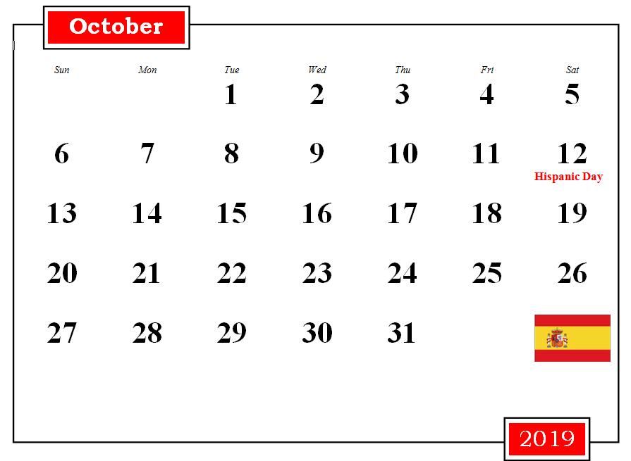 October Monthly Calendar 2019 October Calendar Printable October Calendar Calendar 2019 Printable