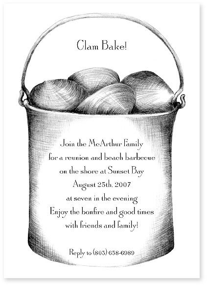 Clam Bake Invitations Food Paper Lobster Bake Party Clams