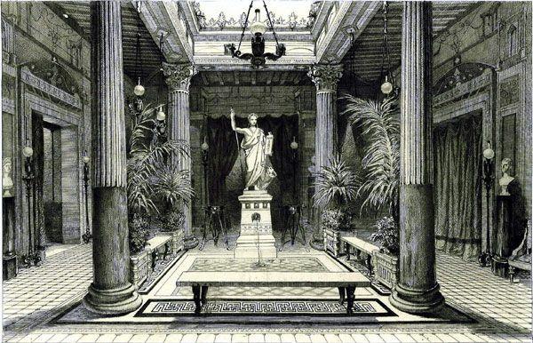 La maison pompéienne rêvée pour la comédienne Rachel par le prince Napoléon-Joseph (1822-1891), cousin germain de Napoléon III et frère de la princesse Mathilde, fut élevée entre 1855 et 1860 avenue Montaigne PARIS HISTORIQUE