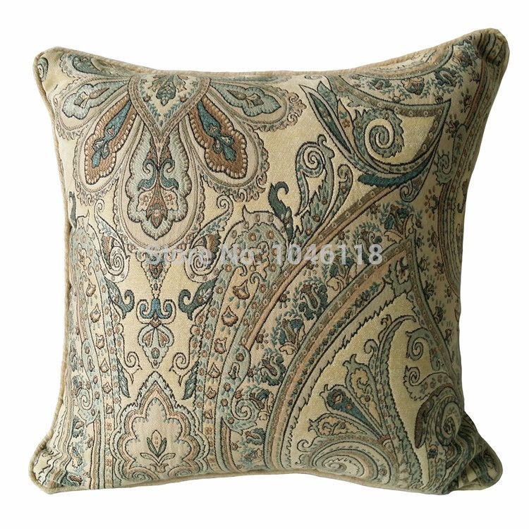 Map Of Paisley%0A Find More Cushion Cover Information about      Beige Soft Chenille Paisley  Damask Square Decorative Pillow Case