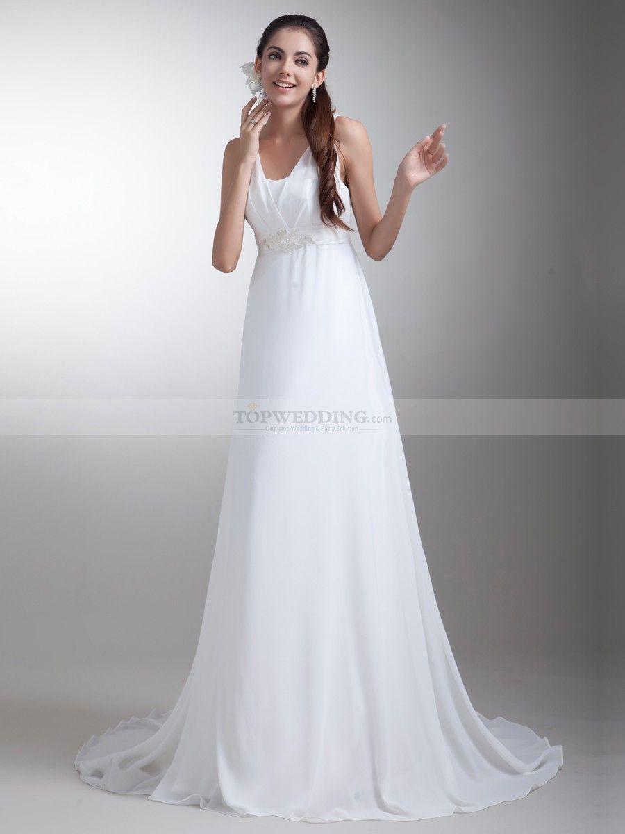 Chiffon Empire Wedding Dress with Embellished Sash | Empire wedding ...