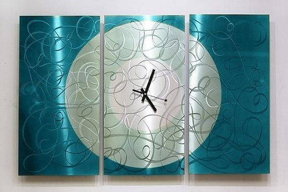 Modern Metal Wall Clock Painted Abstract Art Aqua Moon Clock
