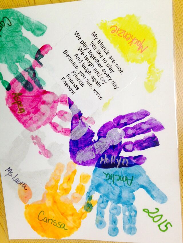 Friendship poem everybody picks a color and puts for Friendship crafts for 2 year olds