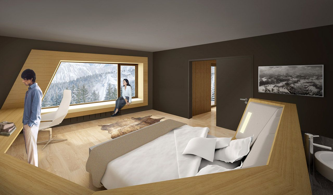The 3d pers design hotel room infografia hotel for Wooden hotel design
