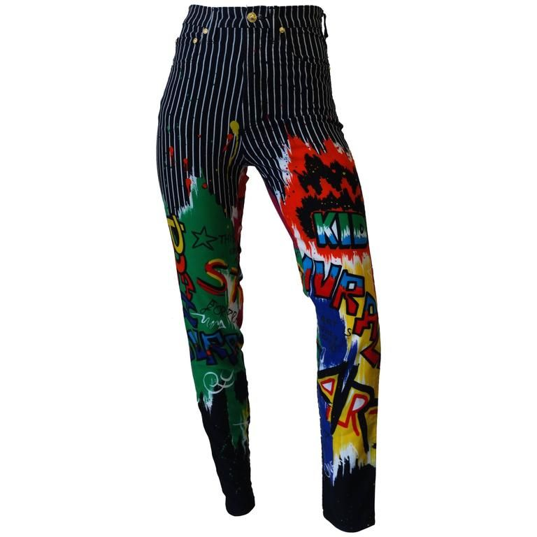 b0f825f0 1990s Versace Graphic Graffiti Pinstripe Jeans in 2019 | outfits ...