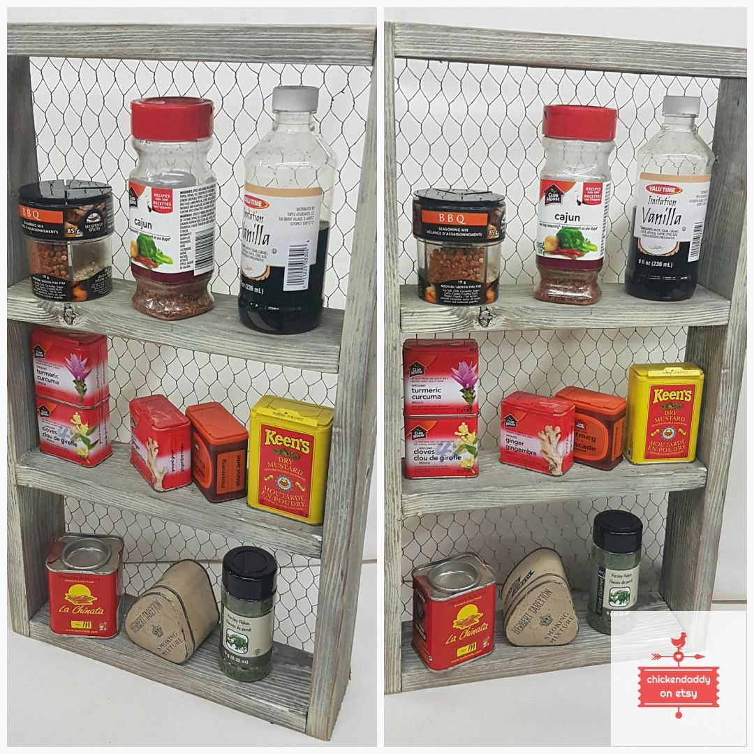 Woodworking Plans For Kitchen Spice Rack: Country Kitchen Spice Rack Shelf #CottageChic #FarmKitchen