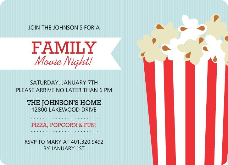 Family Movie Night Flyer Template  Kids Party    Flyer