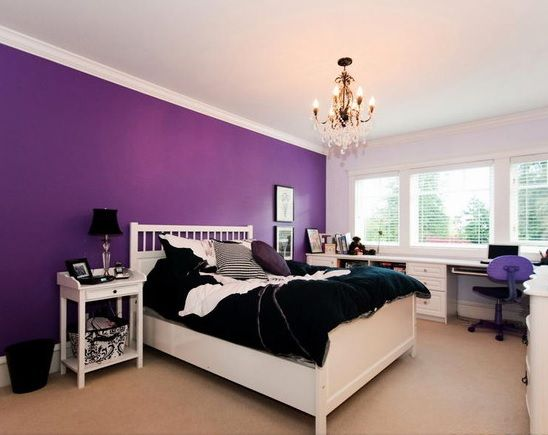 Purple Bedroom Wall Color Ideas With White Furniture