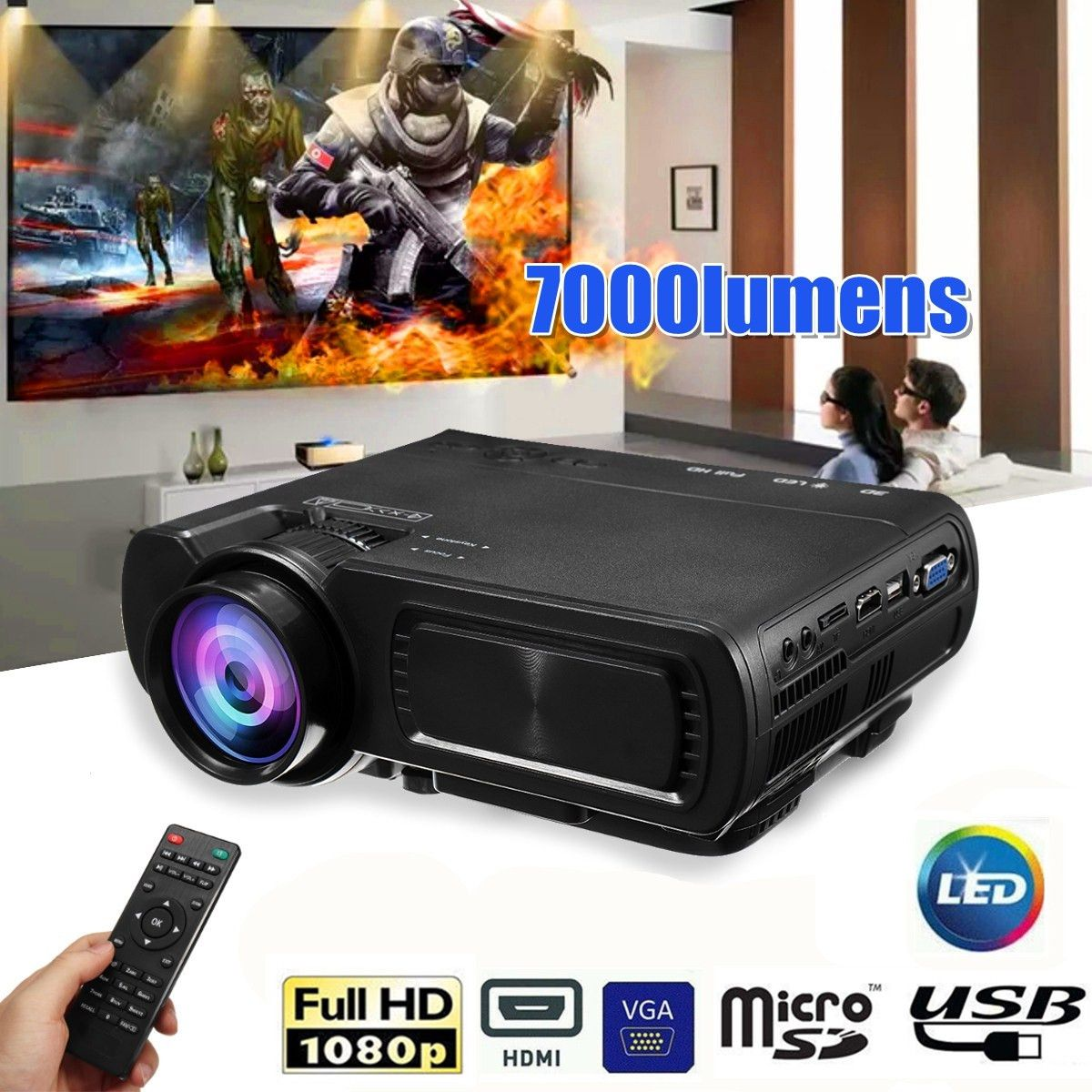 Samsung Beamer 7000lm Hd 1080p T5 Lcd Projector Beamer Usb Vga Hdmi Av Tf For