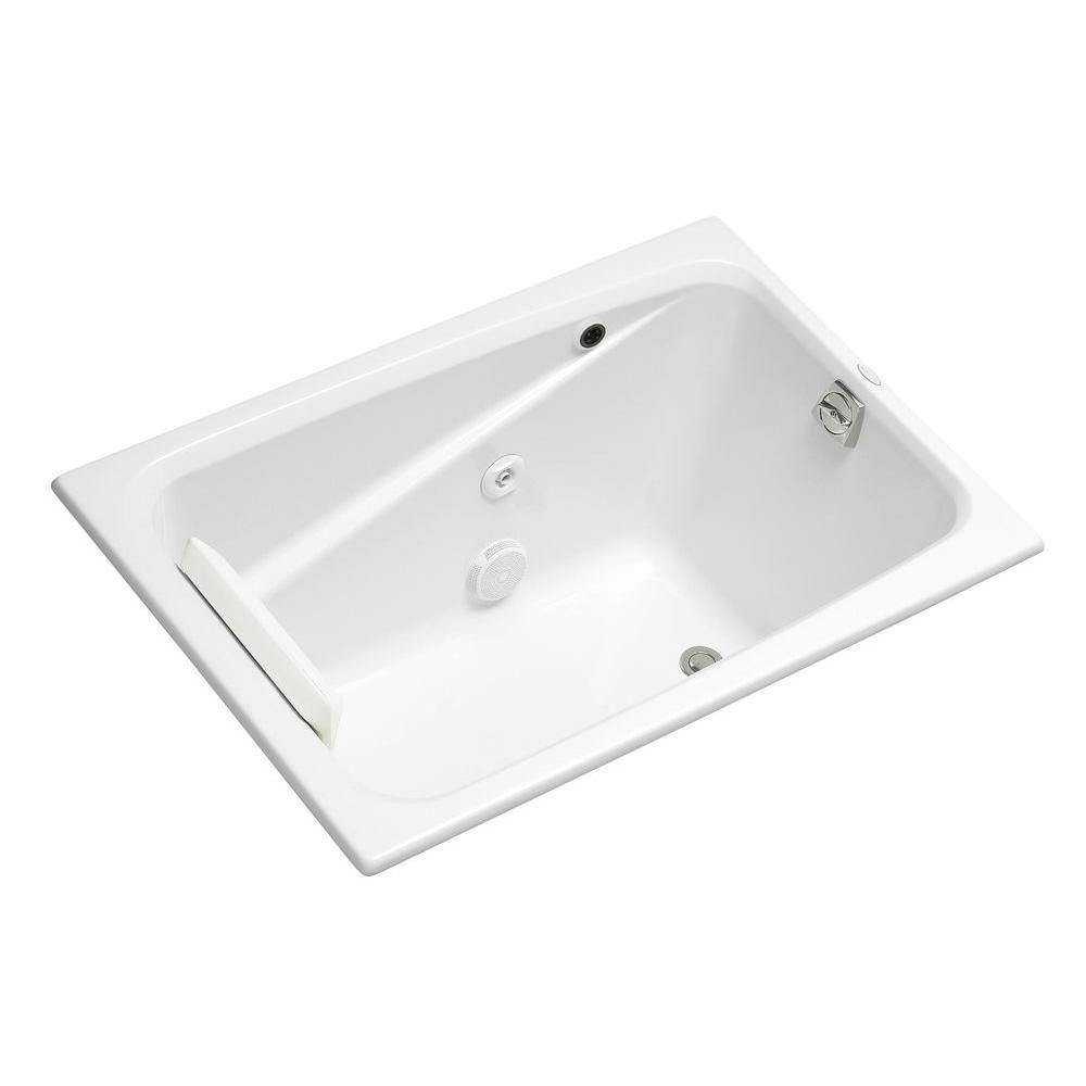 Kohler Greek 4 Foot Whirlpool Tub with Reversible Drain in White ...