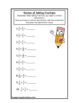 math worksheet : addition » addition fractions worksheet  free math worksheets for  : Addition Review Worksheets