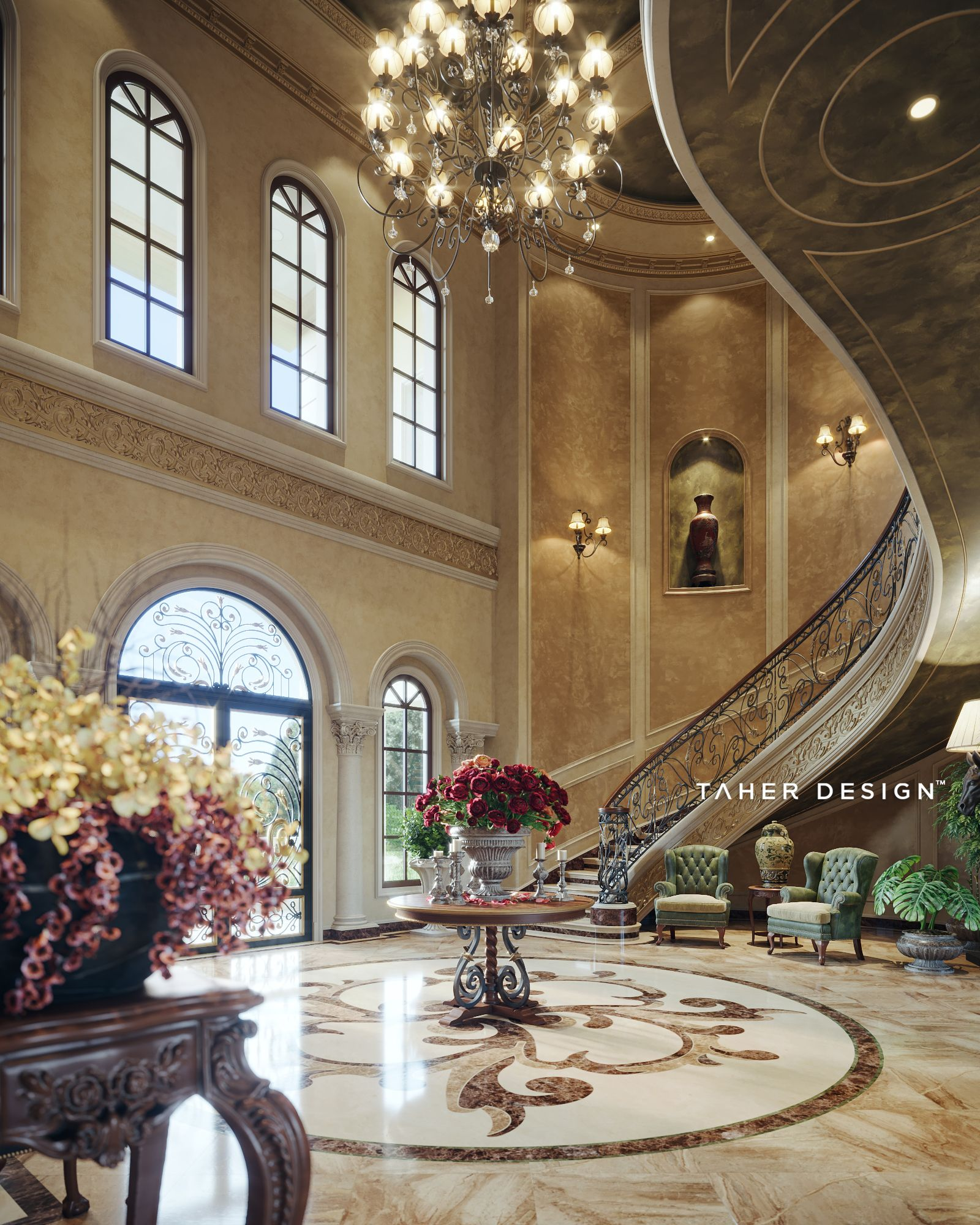 Grand Foyer Design For Luxury Mansion Located In (Dubai