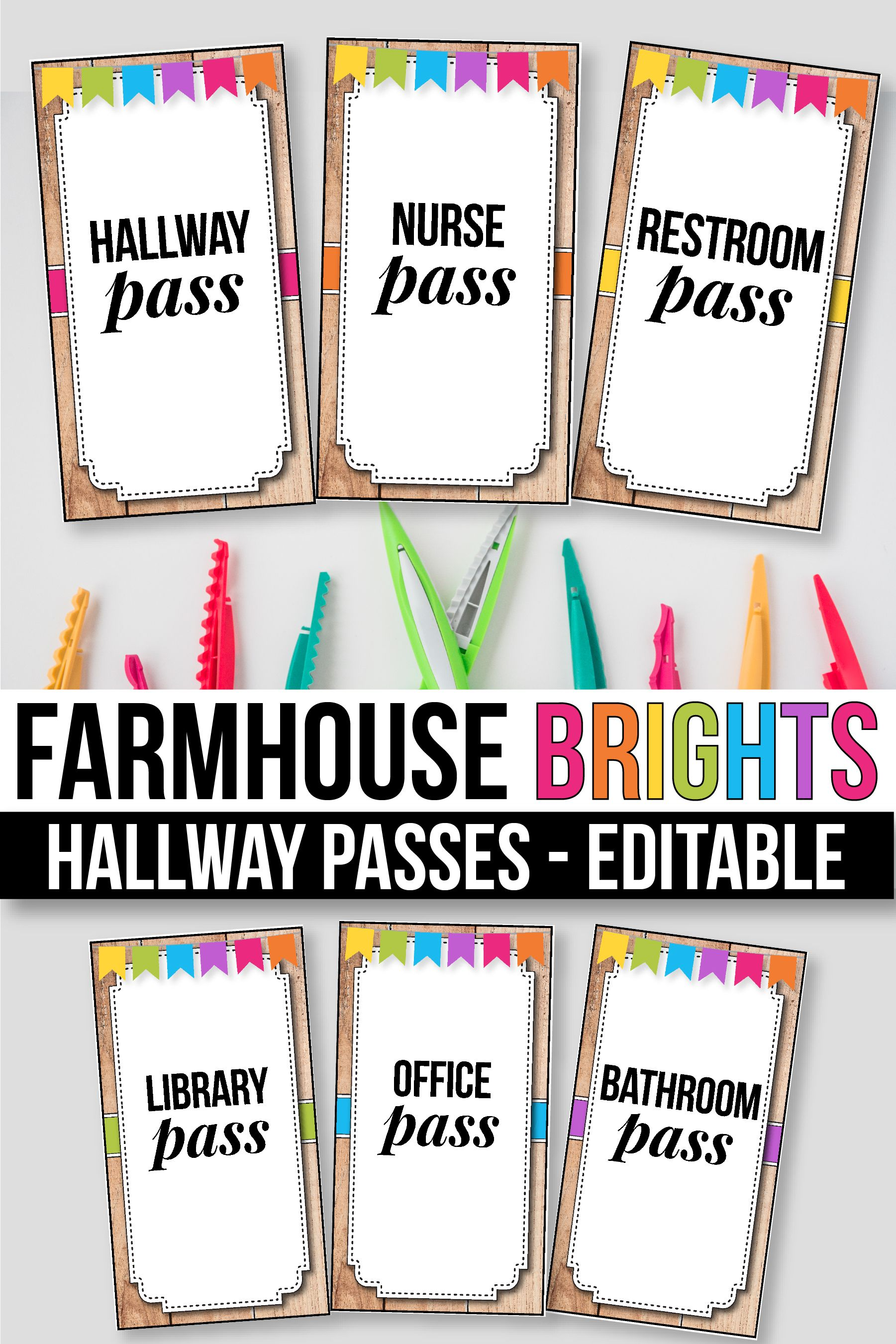 Editable Hallway Passes Bathroom Passes Modern Farmhouse Classroom Theme Classroom Themes Space Theme Classroom Classroom