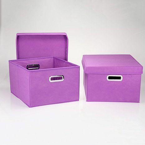 Household Essentials 2 Piece Nested Box Set Purple Storage Fabric Storage Boxes Fabric Storage