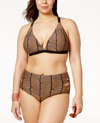049b5752702a Raisins Curve Plus Size Maharani Printed Cutout Mid-Rise Bikini Bottom -  Brown black 20W