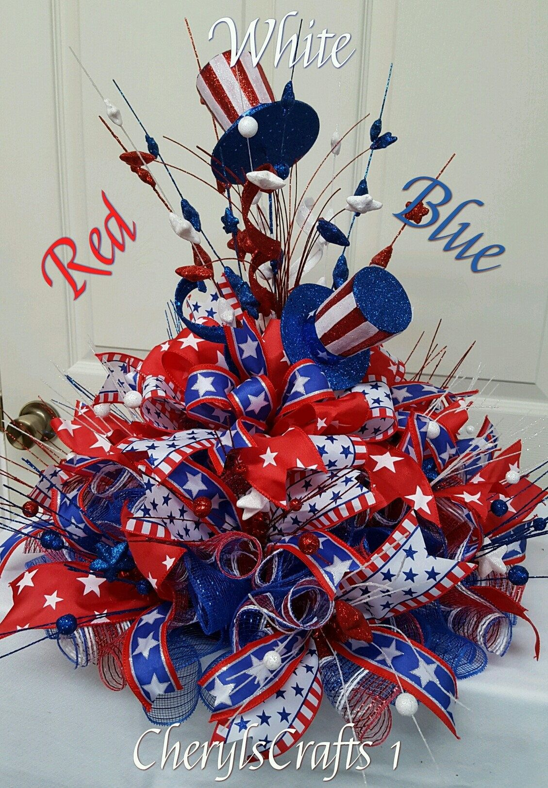 Patriotic Centerpiece Centerpiece Red White Blue Independence Day July 4th Memorial Day Patriotic Centerpieces 4th Of July Decorations Patriotic Decorations