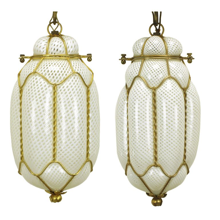 Pair white murano latticino glass gilt metal pendant lights pair white murano latticino glass gilt metal pendant lights 1stdibs aloadofball Images