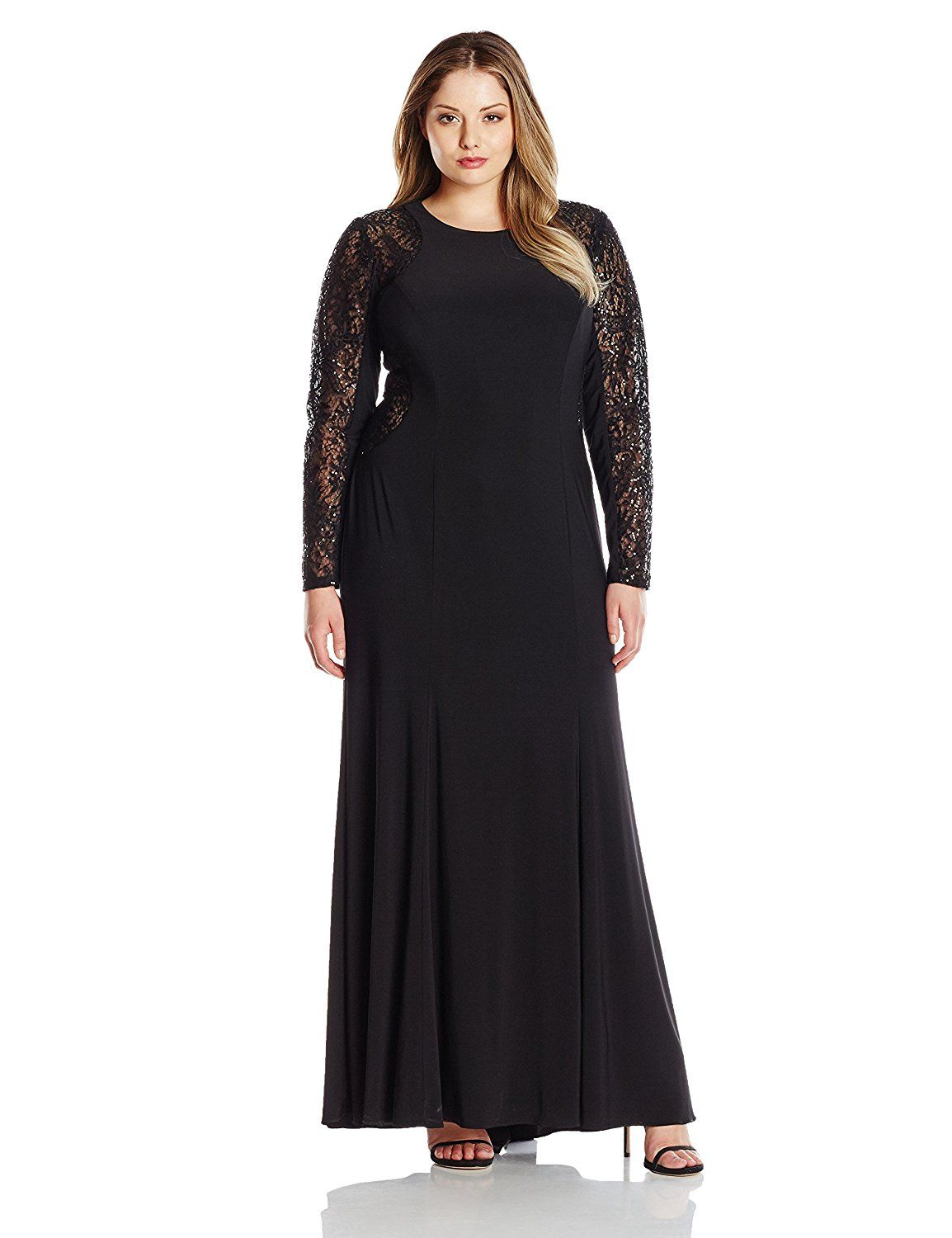 Xscape womenus plussize ity dress with sequin lace longsleeves