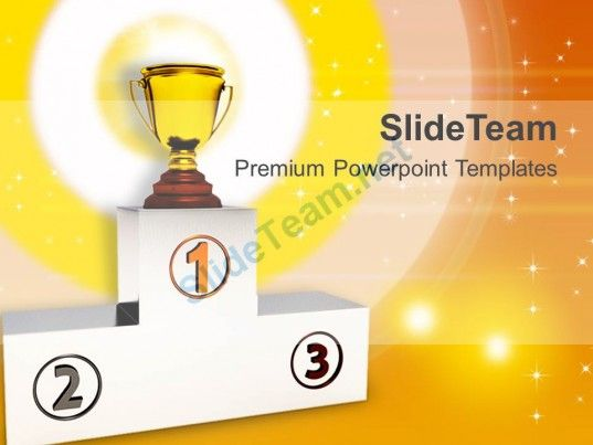 Winners Podium With Trophy Powerpoint Templates Ppt Backgrounds For Slides 0213 PowerPoint