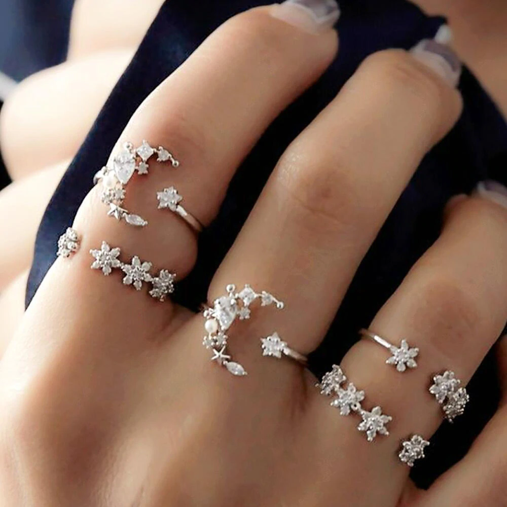 Vintage Star Moon Ring Set 5PCS is part of Rings vintage boho, Fashion ring set, Sparkly ring, Boho rings, Crystal rings, Fashion rings - 100% Brand New & High Quality Metal Alloy Weight 12g