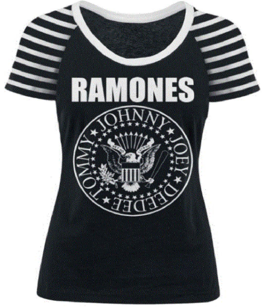 d5ce969d9 Our women's Ramones t-shirt spotlights the punk rock band's legendary  presidential seal logo. The logo was created by Ramones with their friend  and artist, ...