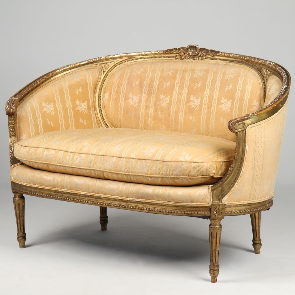 French Louis Xvi Style Antique Settee Canape Loveseat Sofa