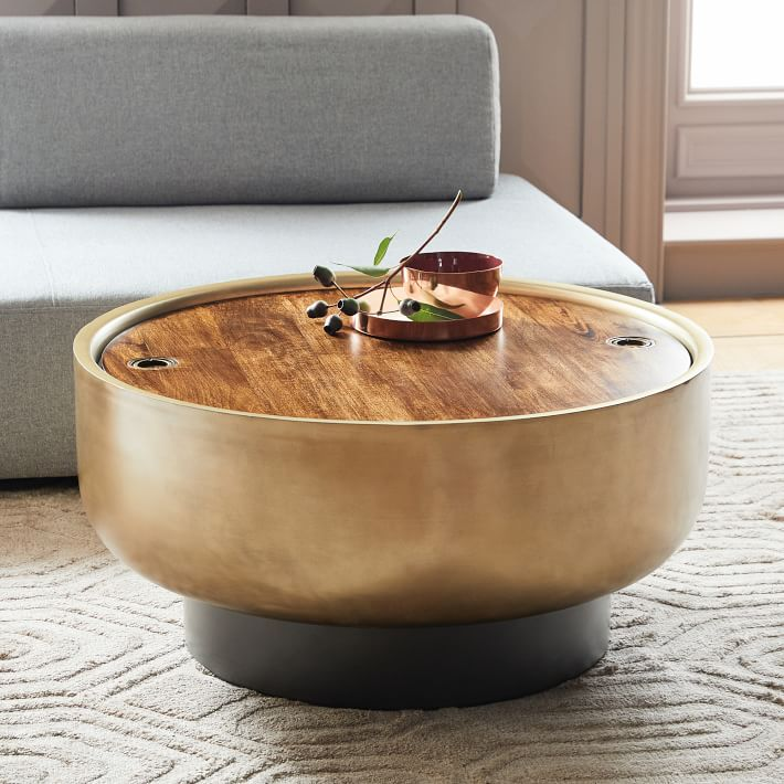 Drum Storage Coffee Table Walnut Antique Brass West Elm Drum Coffee Table Coffee Table Design Coffee Table Design Modern