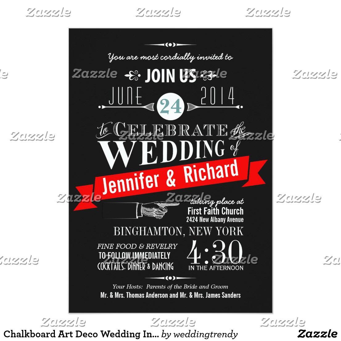 Chalkboard Art Deco Wedding Invitations   Chalk typography, Weddings ...