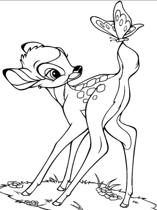 Bambi Anf Butterfly Coloring Pages - Bambi car coloring pages ...