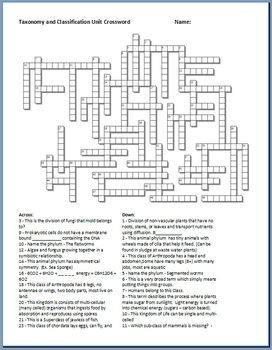 Taxonomy And Classification Crossword Puzzle Crossword Puzzle Crossword Taxonomy