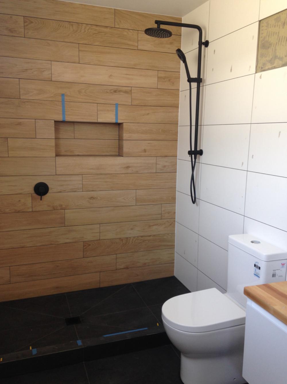 tiled bathroom, wooden tiles, black shower, buildme.co.nz | Bathroom ...