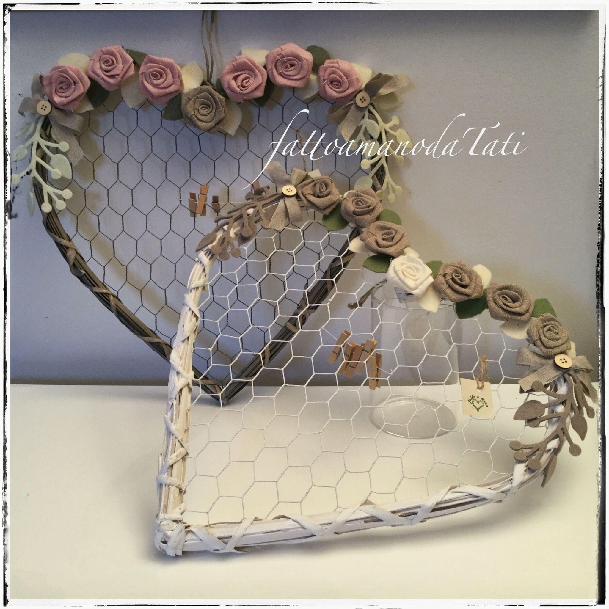 Cuori portafoto con rose di lino ,by fattoamanodaTati