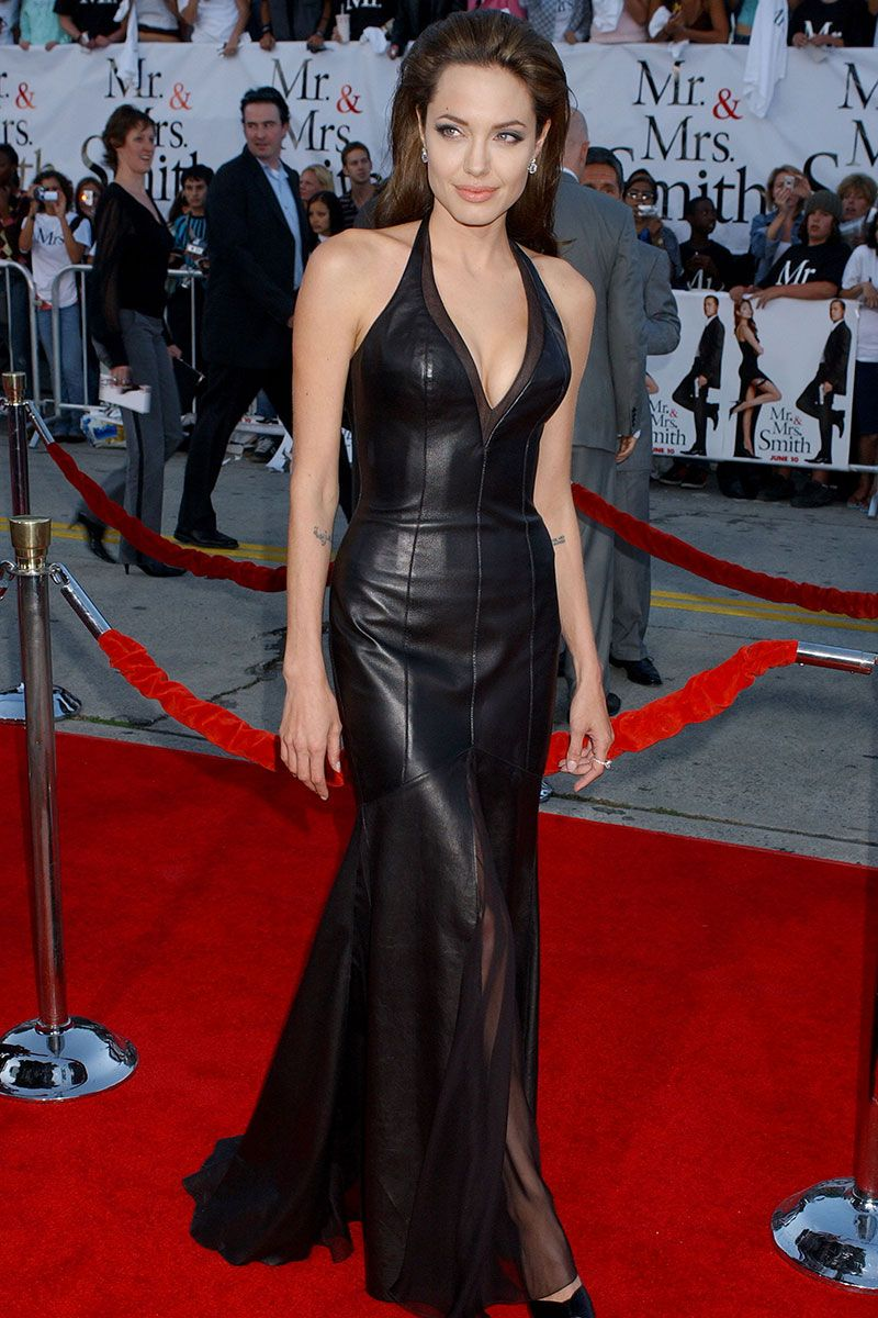Black gloves for gown - 30 Times Angelina Jolie Wore A Little Black Dress